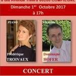 Concert Frédérique Troivaux Piano  Dominique Hofer Violon