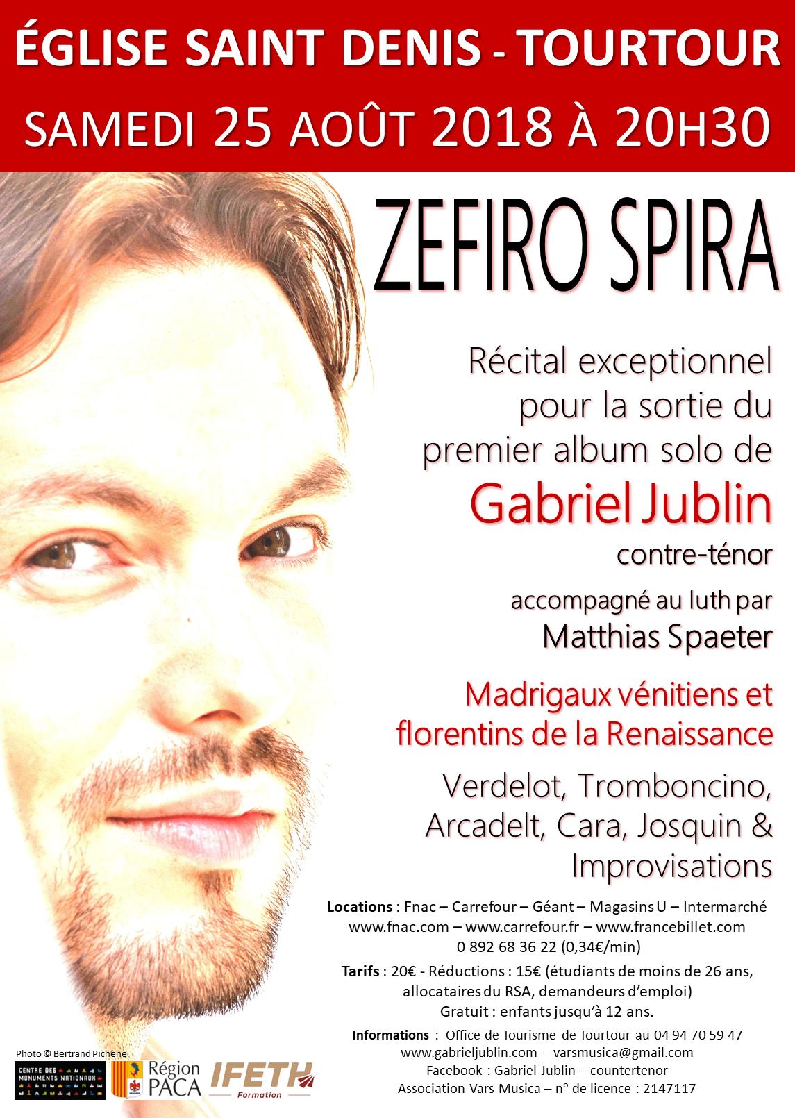 Zefiro spira - Gabriel Jublin, contre-ténor - sortie disque