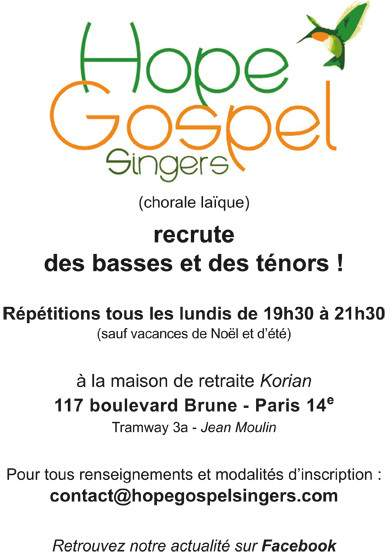 Hope Gospel Singers recrute des basses et des ténors