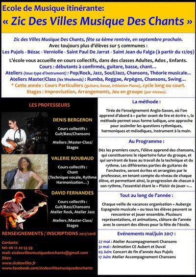 """Ecole de Musique Itinérante """"Zic Des Villes Musique Des Chants"""""""