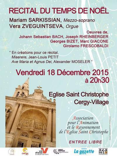 Récital du temps de Noël - Mariam Sarkissian, mezzo-soprano et Véra Zveguintseva, orgue