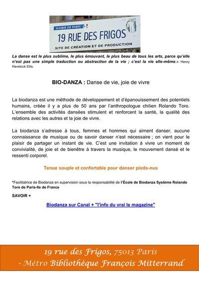 BiodanzaParis13 - Cours hebdomadaire pour adultes, mercredi
