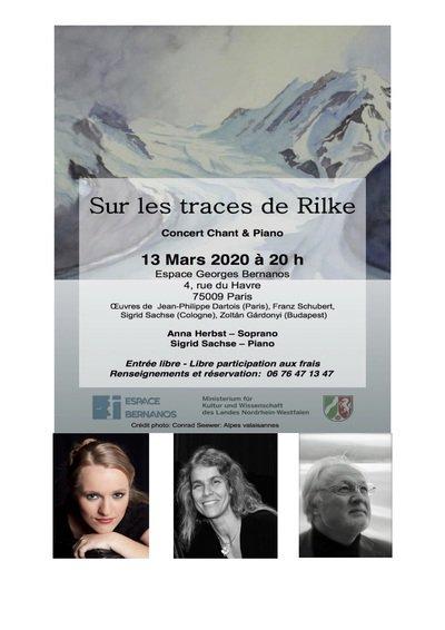 """Concert Chant et Piano """"Sur les traces de RILKE"""""""
