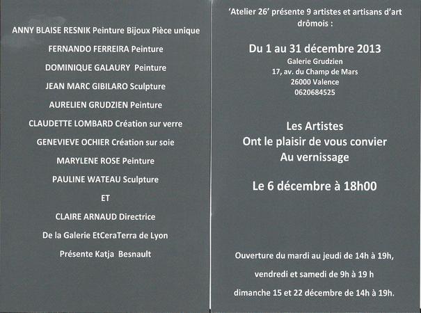 Atelier 26 : 9 Artistes exposent à la Galerie Grudzien à Valence