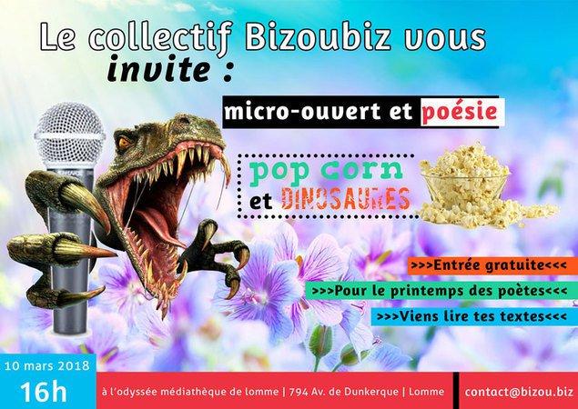 Micro-ouvert, poésie, pop corn et dinosaures