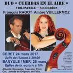 """DUO """"CUERDAS EN EL AIRE"""" François RAGOT et Ambre VUILLERMOZ"""