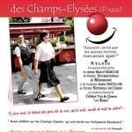 le  Célèbre mime suiveur au nez rouge  des Champs-Elysées-Paris .