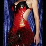 Robe à paillettes plumes - cabaret burlesque